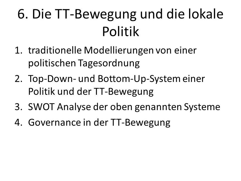 6. Die TT-Bewegung und die lokale Politik 1.traditionelle Modellierungen von einer politischen Tagesordnung 2.Top-Down- und Bottom-Up-System einer Pol