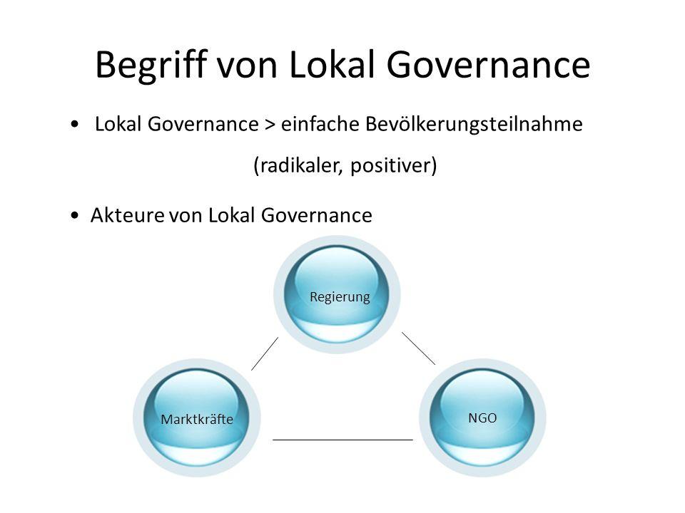 Begriff von Lokal Governance Lokal Governance > einfache Bevölkerungsteilnahme (radikaler, positiver) Akteure von Lokal Governance Regierung Marktkräf