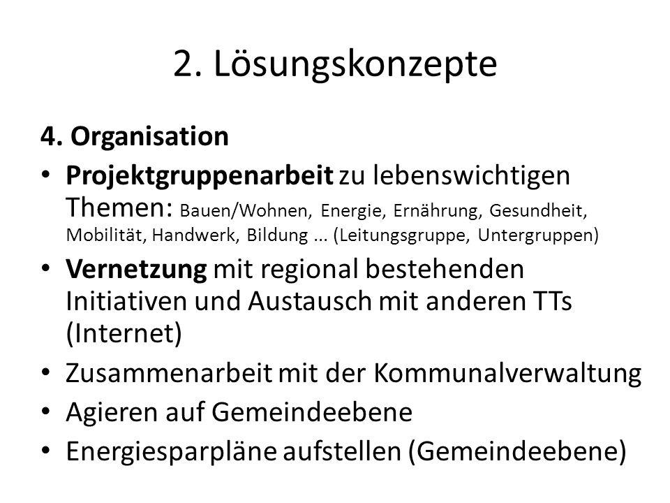 2. Lösungskonzepte 4. Organisation Projektgruppenarbeit zu lebenswichtigen Themen: Bauen/Wohnen, Energie, Ernährung, Gesundheit, Mobilität, Handwerk,