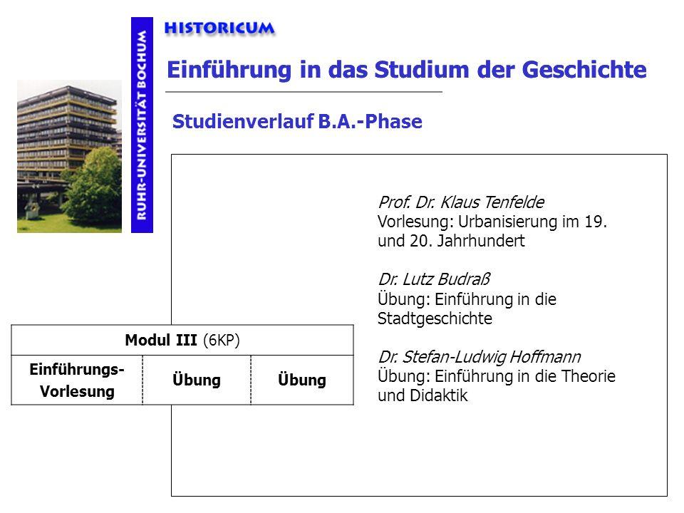 Einführung in das Studium der Geschichte Studienverlauf B.A.-Phase Modul III Anforderungen Modul III (6KP) Einführungs- Vorlesung Übung Prof. Dr. Klau
