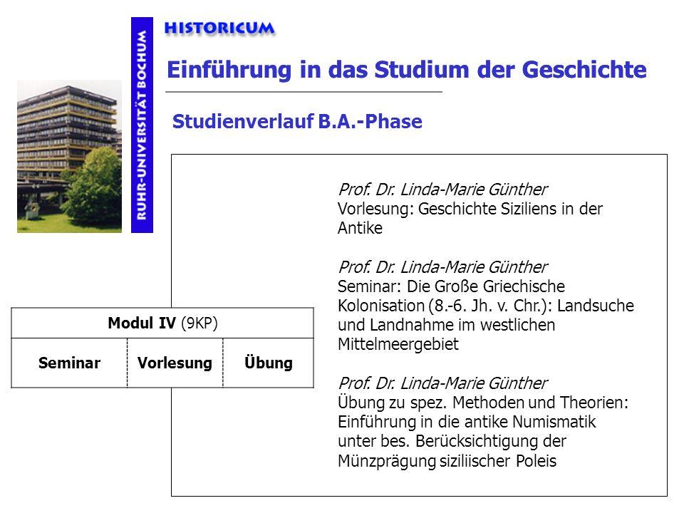 Einführung in das Studium der Geschichte Studienverlauf B.A.-Phase Modul IV Anforderungen Prof. Dr. Linda-Marie Günther Vorlesung: Geschichte Sizilien