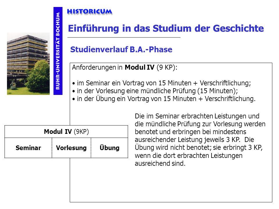 Einführung in das Studium der Geschichte Studienverlauf B.A.-Phase Modul IV Anforderungen Anforderungen in Modul IV (9 KP): im Seminar ein Vortrag von