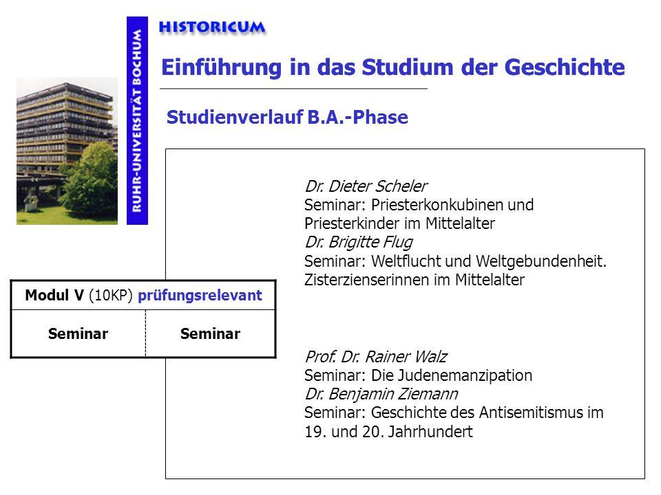 Einführung in das Studium der Geschichte Studienverlauf B.A.-Phase Modul V Anforderungen Dr. Dieter Scheler Seminar: Priesterkonkubinen und Priesterki