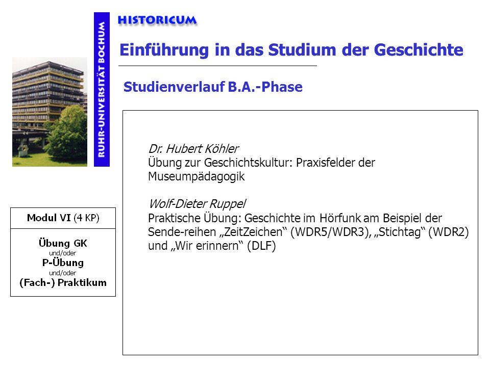 Einführung in das Studium der Geschichte Studienverlauf B.A.-Phase Modul VI Anforderungen Dr. Hubert Köhler Übung zur Geschichtskultur: Praxisfelder d