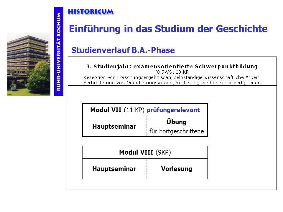 Einführung in das Studium der Geschichte Studienverlauf B.A.-Phase 3. Studienjahr Modul VII (11 KP) prüfungsrelevant Hauptseminar Übung für Fortgeschr