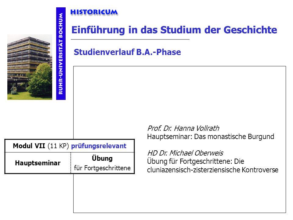 Einführung in das Studium der Geschichte Studienverlauf B.A.-Phase Modul VII Anforderungen Prof. Dr. Hanna Vollrath Hauptseminar: Das monastische Burg