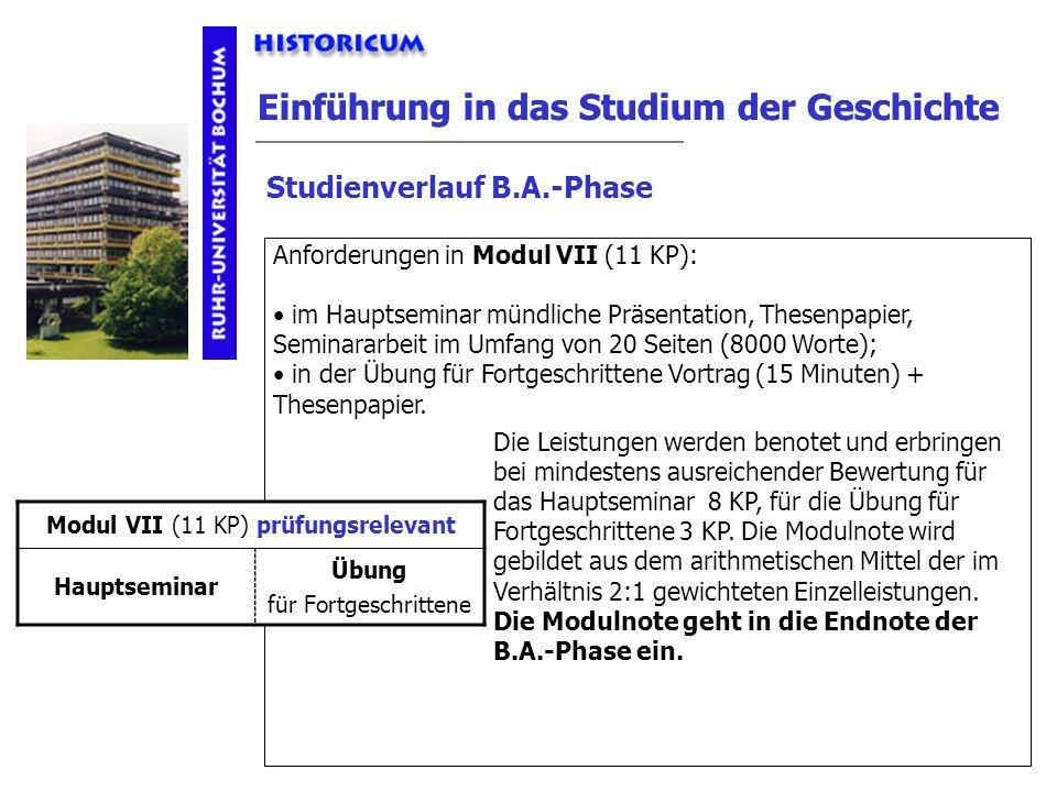 Einführung in das Studium der Geschichte Studienverlauf B.A.-Phase Modul VII Anforderungen Anforderungen in Modul VII (11 KP): im Hauptseminar mündlic
