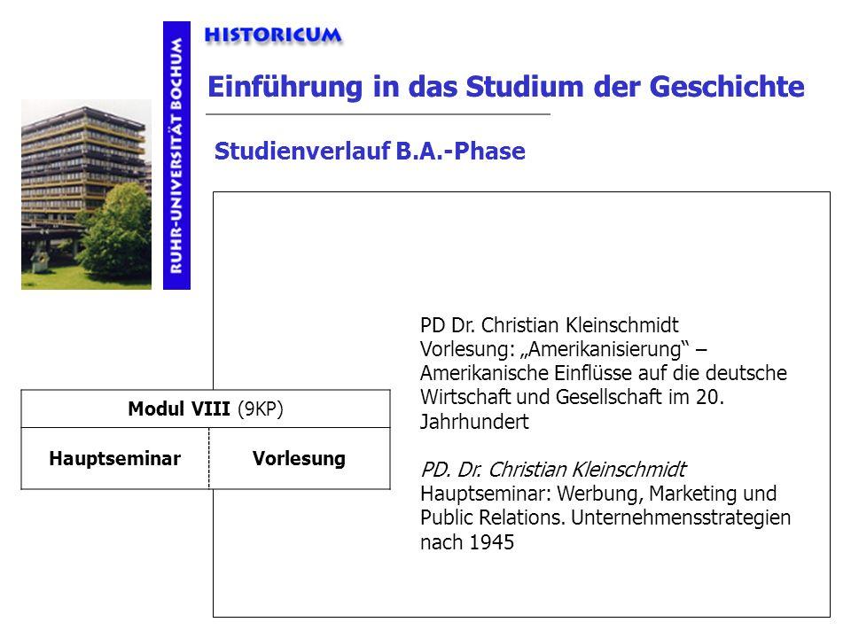 Einführung in das Studium der Geschichte Studienverlauf B.A.-Phase Modul VIII Anforderungen PD Dr. Christian Kleinschmidt Vorlesung: Amerikanisierung