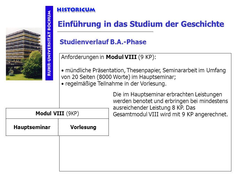 Einführung in das Studium der Geschichte Studienverlauf B.A.-Phase Modul VIII Anforderungen Anforderungen in Modul VIII (9 KP): mündliche Präsentation