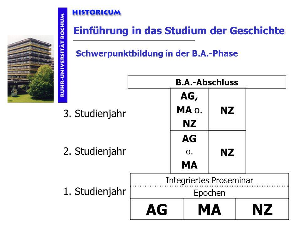 Einführung in das Studium der Geschichte Schwerpunktbildung AGMANZ 1. Studienjahr Epochen Integriertes Proseminar AG o. MA NZ AG, MA o. NZ B.A.-Abschl