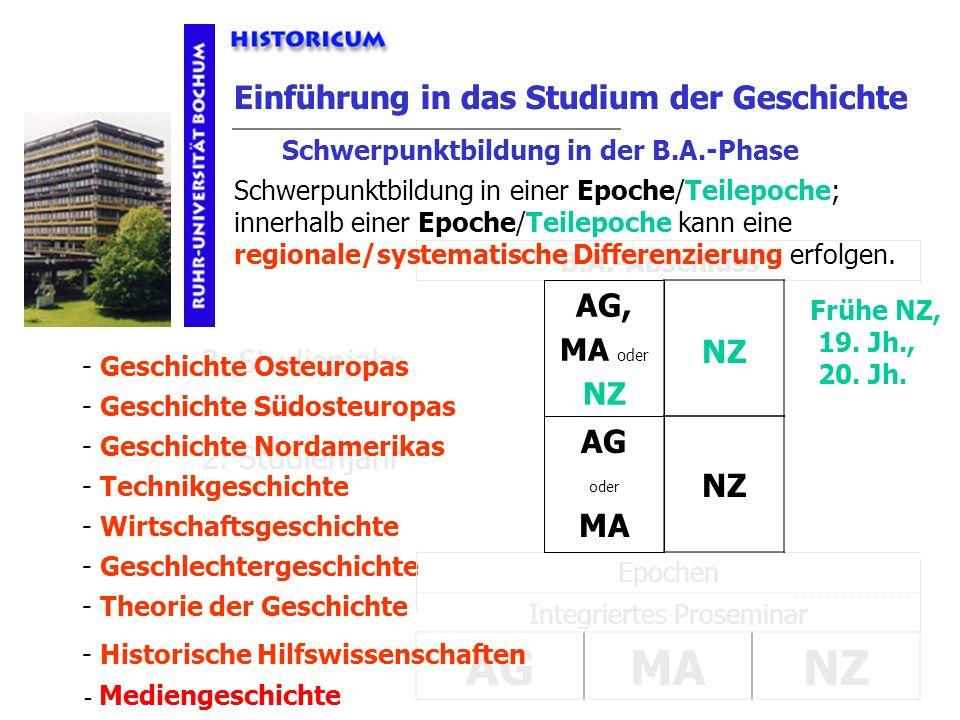 Einführung in das Studium der Geschichte Integriertes Proseminar Epochen Einführung in das Studium der Geschichte 2./3. Studienjahr 2. Studienjahr 3.