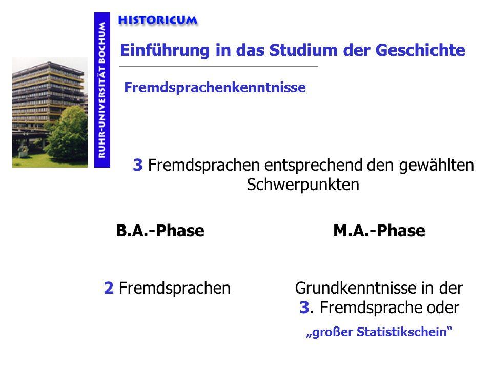 Einführung in das Studium der Geschichte 3 Fremdsprachen entsprechend den gewählten Schwerpunkten B.A.-PhaseM.A.-Phase 2 FremdsprachenGrundkenntnisse