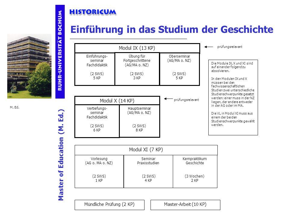Einführung in das Studium der Geschichte Mündliche Prüfung (2 KP) Master-Arbeit (10 KP) Modul IX (13 KP) Einführungs- seminar Fachdidaktik (2 SWS) 5 K