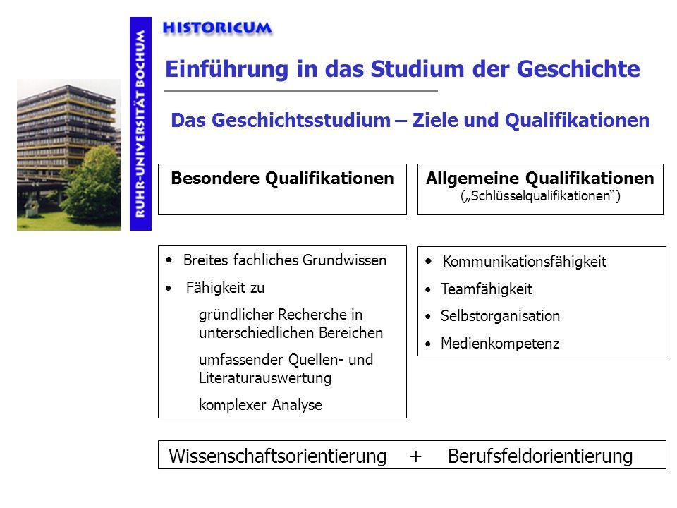 Einführung in das Studium der Geschichte Besondere QualifikationenAllgemeine Qualifikationen (Schlüsselqualifikationen) Wissenschaftsorientierung + Be