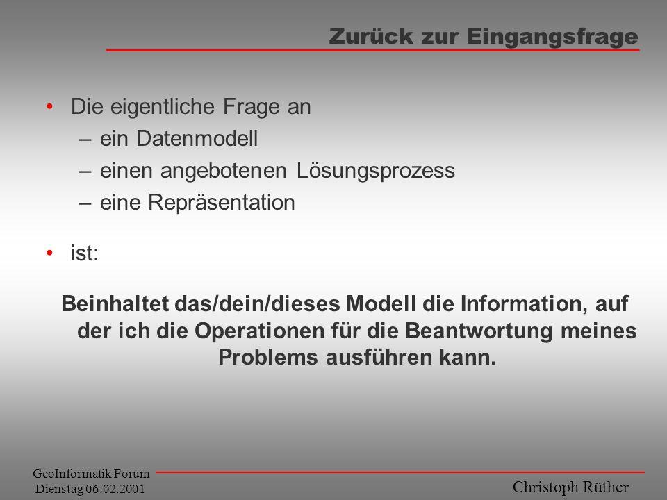 Christoph Rüther GeoInformatik Forum Dienstag 06.02.2001 Zurück zur Eingangsfrage Die eigentliche Frage an –ein Datenmodell –einen angebotenen Lösungs