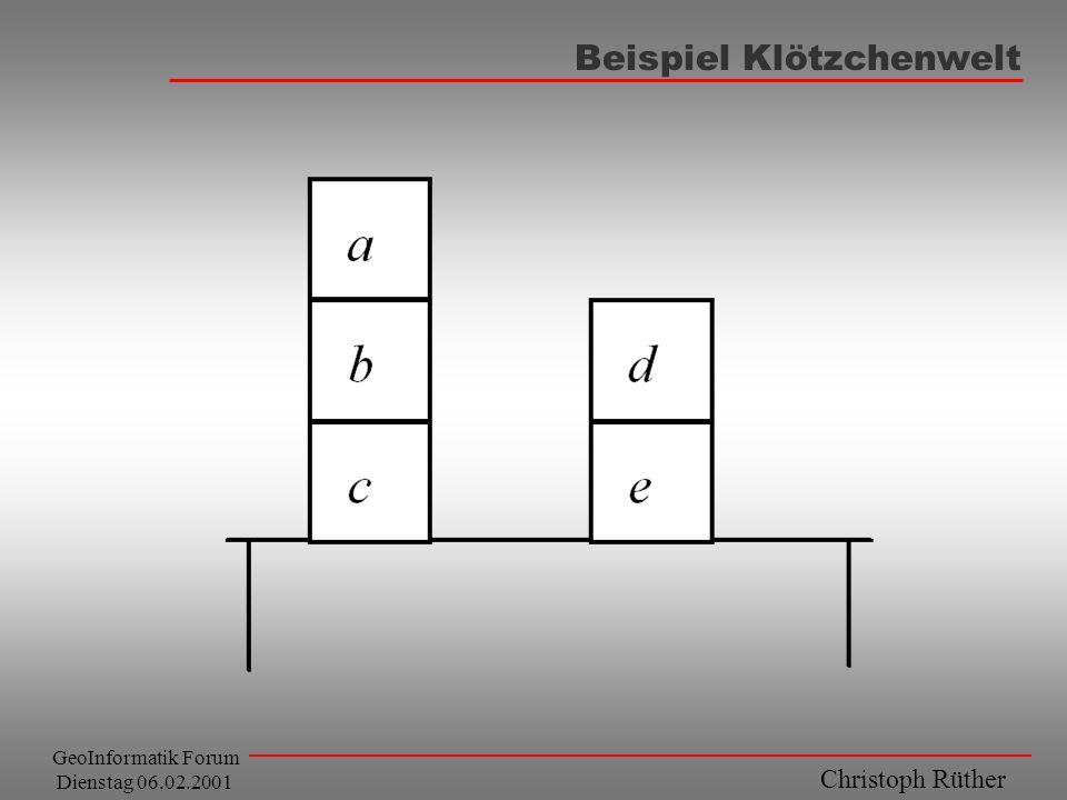 Christoph Rüther GeoInformatik Forum Dienstag 06.02.2001 Beispiel Klötzchenwelt