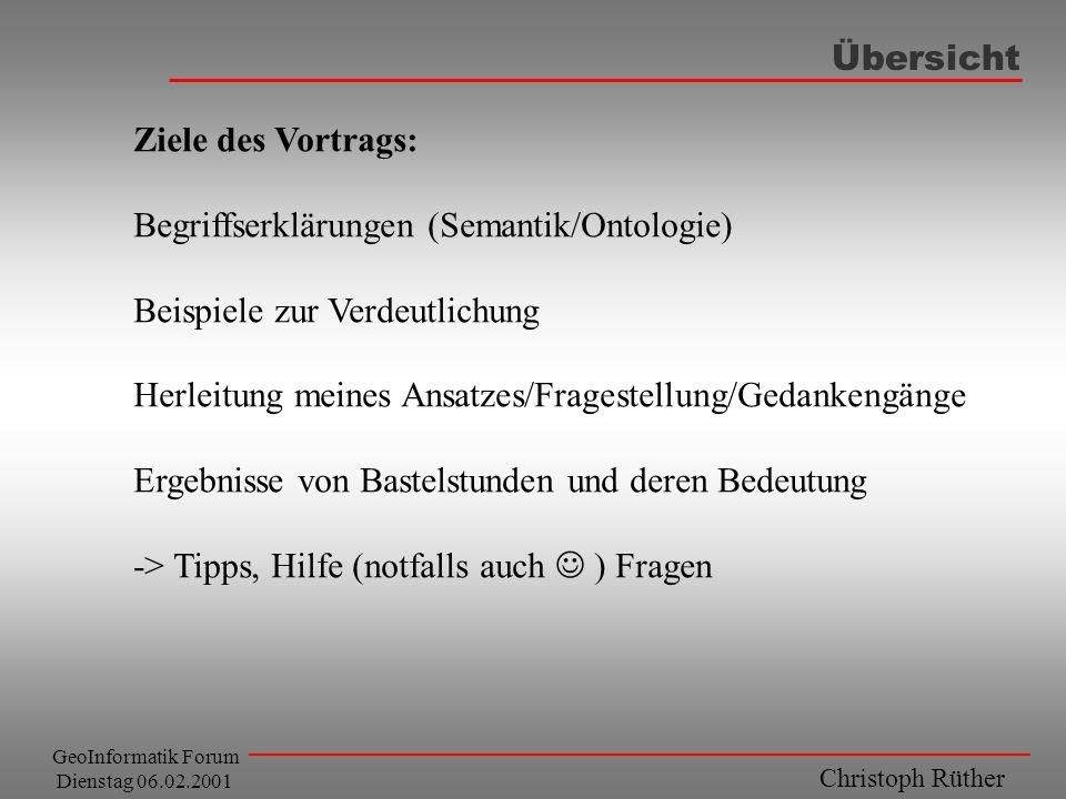 Christoph Rüther GeoInformatik Forum Dienstag 06.02.2001 Übersicht Ziele des Vortrags: Begriffserklärungen (Semantik/Ontologie) Beispiele zur Verdeutl