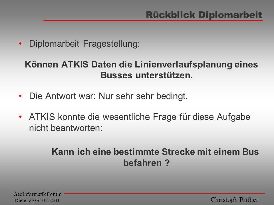 Christoph Rüther GeoInformatik Forum Dienstag 06.02.2001 Rückblick Diplomarbeit Diplomarbeit Fragestellung: Können ATKIS Daten die Linienverlaufsplanu
