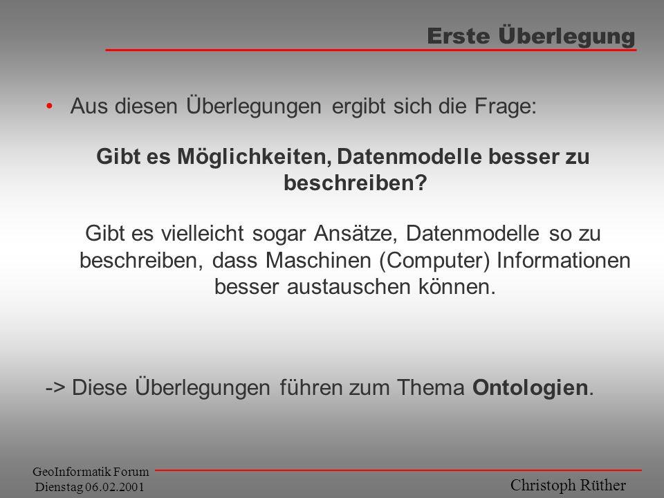 Christoph Rüther GeoInformatik Forum Dienstag 06.02.2001 Erste Überlegung Aus diesen Überlegungen ergibt sich die Frage: Gibt es Möglichkeiten, Datenm