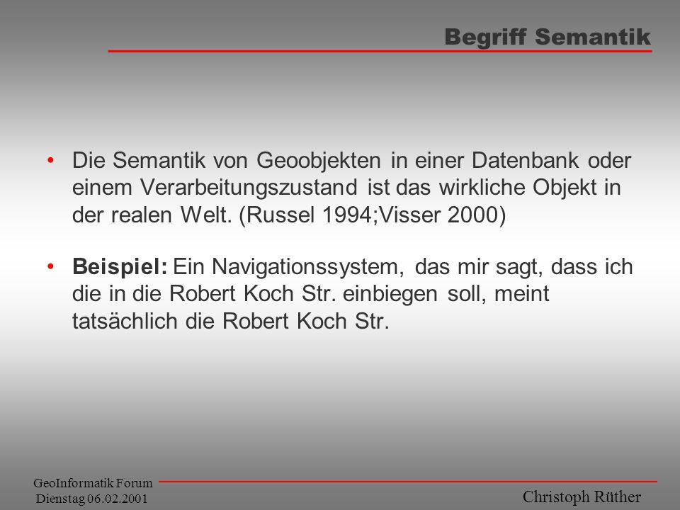 Christoph Rüther GeoInformatik Forum Dienstag 06.02.2001 Begriff Semantik Die Semantik von Geoobjekten in einer Datenbank oder einem Verarbeitungszust