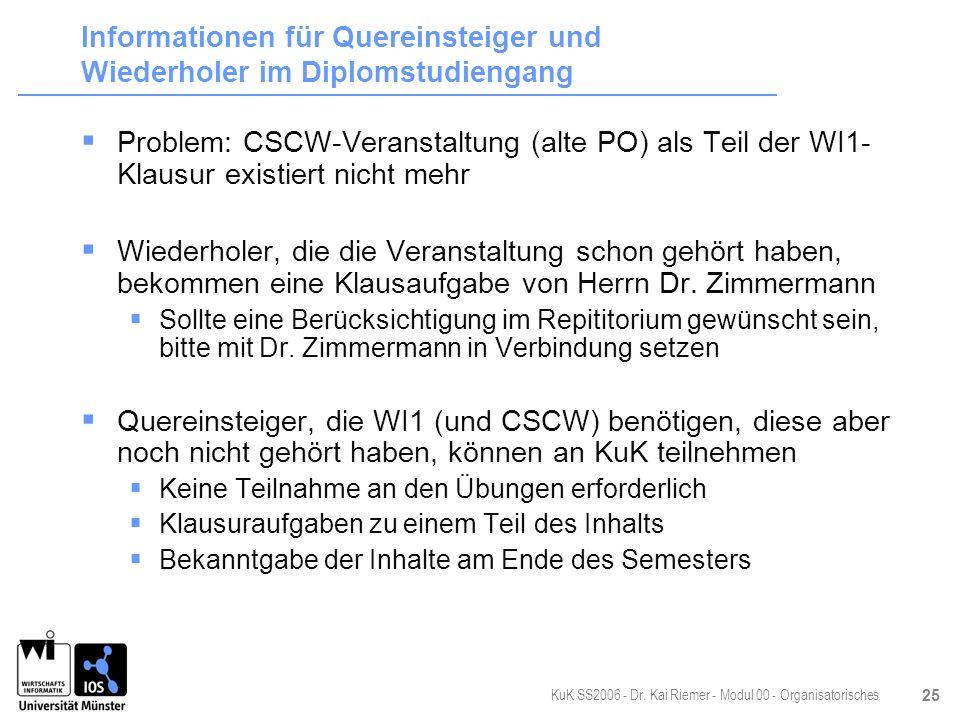 KuK SS2006 - Dr. Kai Riemer - Modul 00 - Organisatorisches 25 Informationen für Quereinsteiger und Wiederholer im Diplomstudiengang Problem: CSCW-Vera