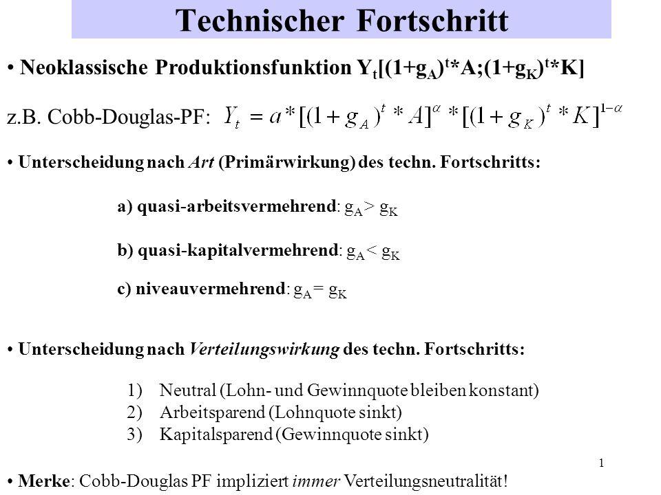 2 Verteilungswirkung des technischen Fortschritts hängt ab von Art des technischen Fortschritts (quasi-arbeits-, quasi-kapital oder quasi-niveauvermehrend, s.o.) Art der zugrundeliegenden Produktionsfunktion (Substitutions- elastizität größer, kleiner oder gleich Null) Annahmen hinsichtlich K/Y, A/Y bzw K/A (Neutralitätskonzepte) Substitutionselastizität gibt an, wie sich das Faktoreinsatzverhältnis K/A in Reaktion auf eine Änderung der Faktorproduktivitäten GPA/GPK bzw.