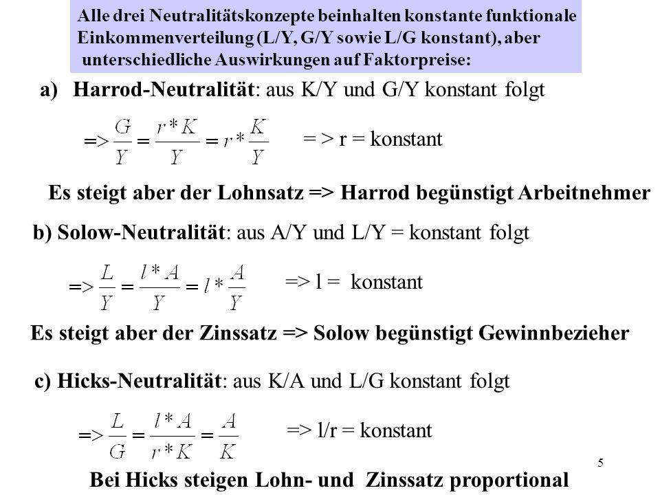 5 Alle drei Neutralitätskonzepte beinhalten konstante funktionale Einkommenverteilung (L/Y, G/Y sowie L/G konstant), aber unterschiedliche Auswirkunge