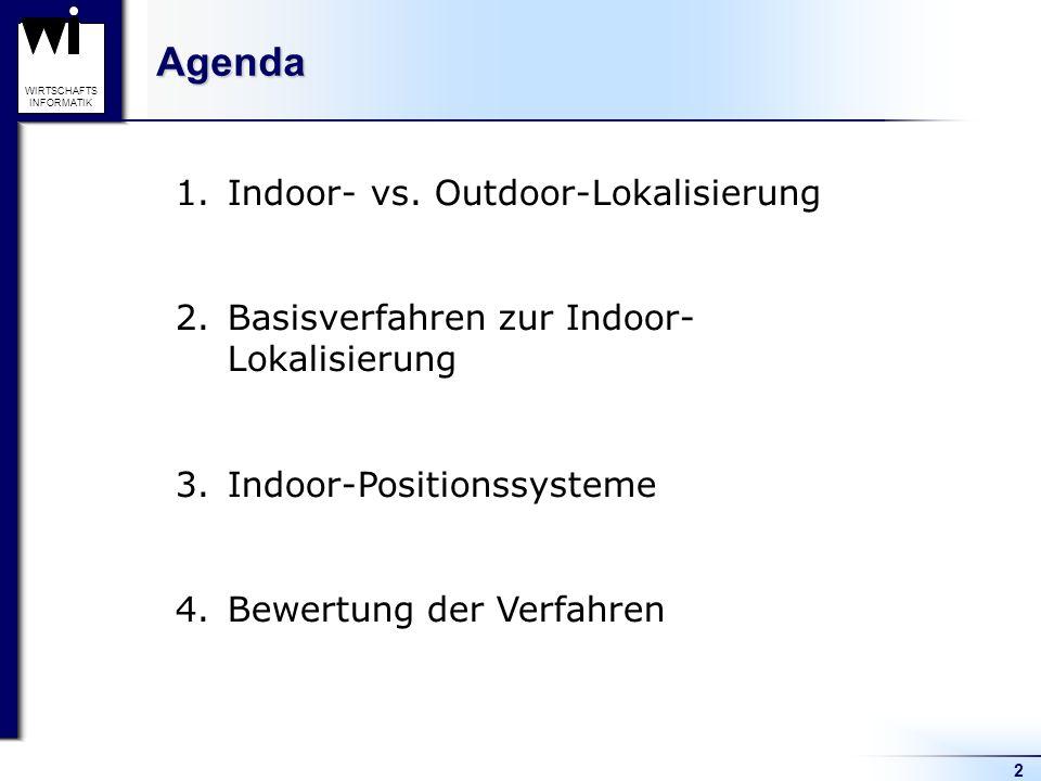 2 WIRTSCHAFTS INFORMATIKAgenda 1.Indoor- vs. Outdoor-Lokalisierung 2.Basisverfahren zur Indoor- Lokalisierung 3.Indoor-Positionssysteme 4.Bewertung de