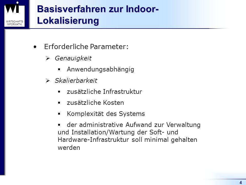 4 WIRTSCHAFTS INFORMATIK Basisverfahren zur Indoor- Lokalisierung Erforderliche Parameter: Genauigkeit Anwendungsabhängig Skalierbarkeit zusätzliche I