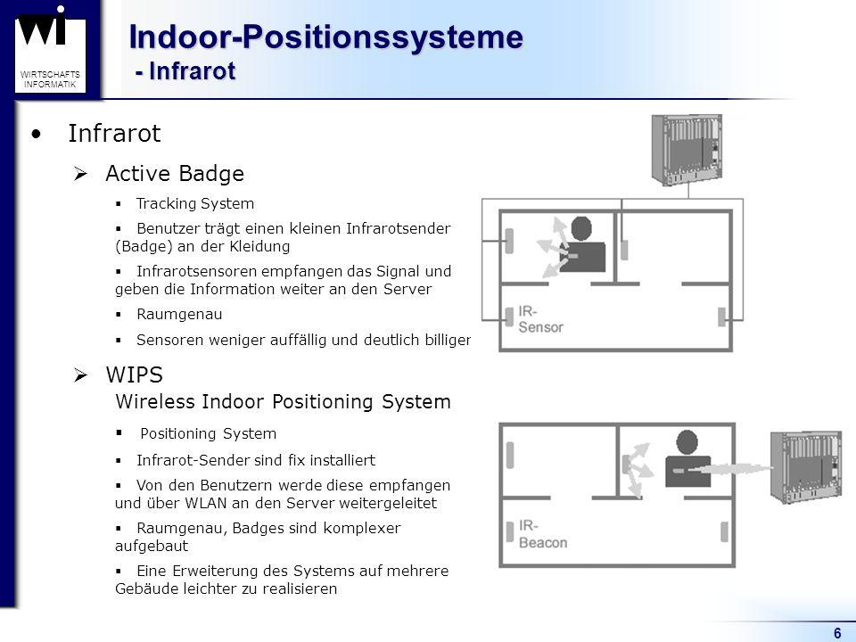 6 WIRTSCHAFTS INFORMATIK Indoor-Positionssysteme - Infrarot Infrarot Active Badge Tracking System Benutzer trägt einen kleinen Infrarotsender (Badge)