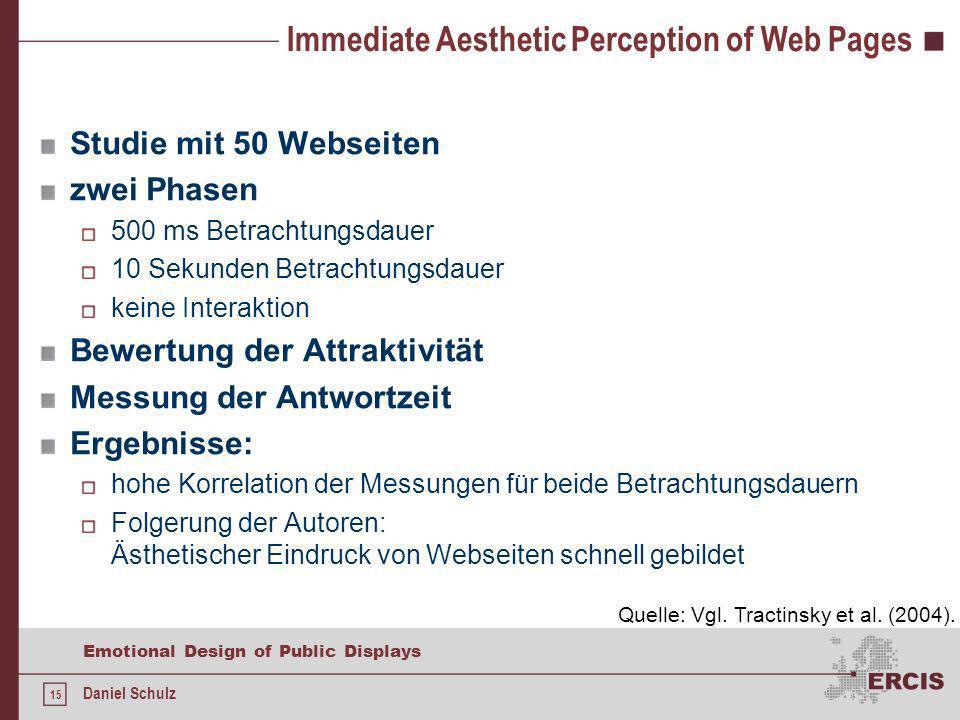 15 Emotional Design of Public Displays Daniel Schulz Immediate Aesthetic Perception of Web Pages Studie mit 50 Webseiten zwei Phasen 500 ms Betrachtun