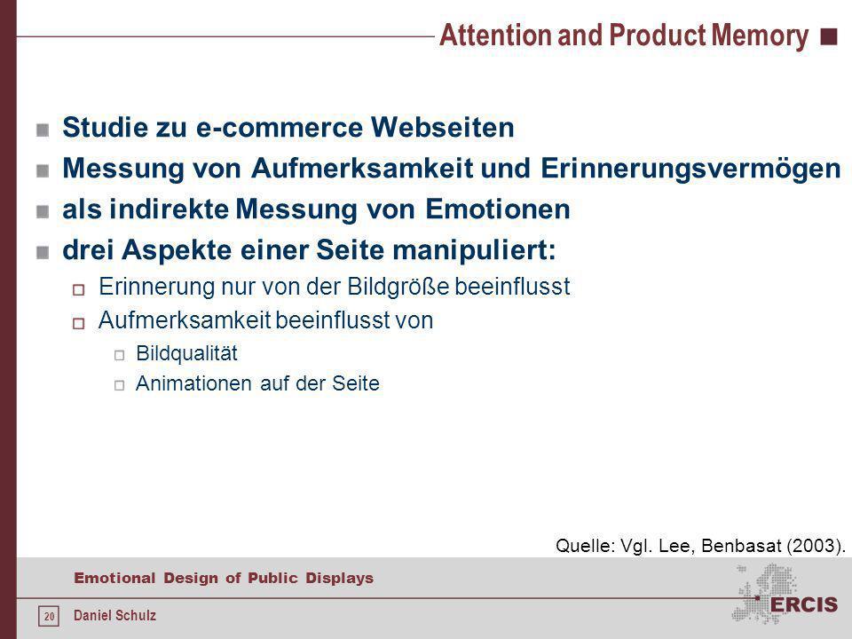 20 Emotional Design of Public Displays Daniel Schulz Attention and Product Memory Studie zu e-commerce Webseiten Messung von Aufmerksamkeit und Erinne