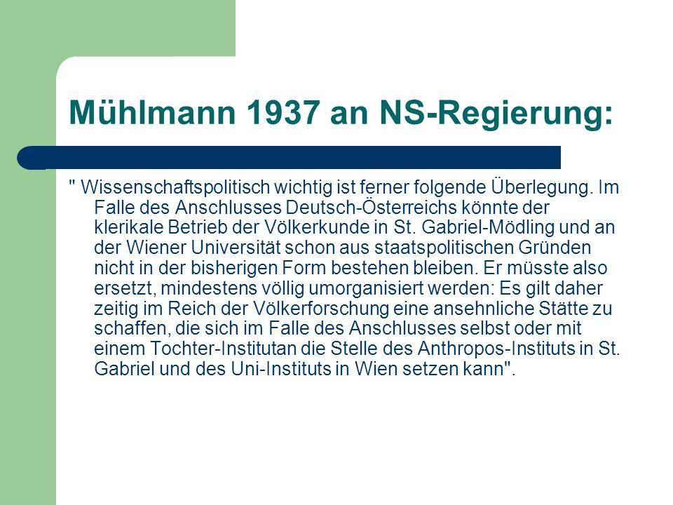 Mühlmann 1937 an NS-Regierung: