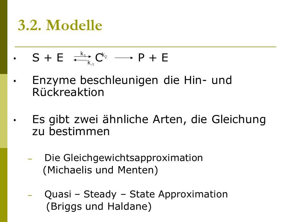 3.2. Modelle S + E C P + E Enzyme beschleunigen die Hin- und Rückreaktion Es gibt zwei ähnliche Arten, die Gleichung zu bestimmen – Die Gleichgewichts