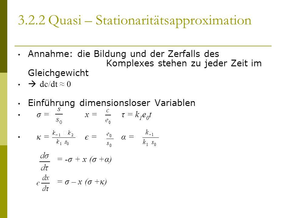 3.2.2 Quasi – Stationaritätsapproximation Annahme: die Bildung und der Zerfalls des Komplexes stehen zu jeder Zeit im Gleichgewicht dc/dt 0 Einführung dimensionsloser Variablen σ = x = τ = k 1 e 0 t κ = є = α = = -σ + x (σ +α) = σ – x (σ +κ)