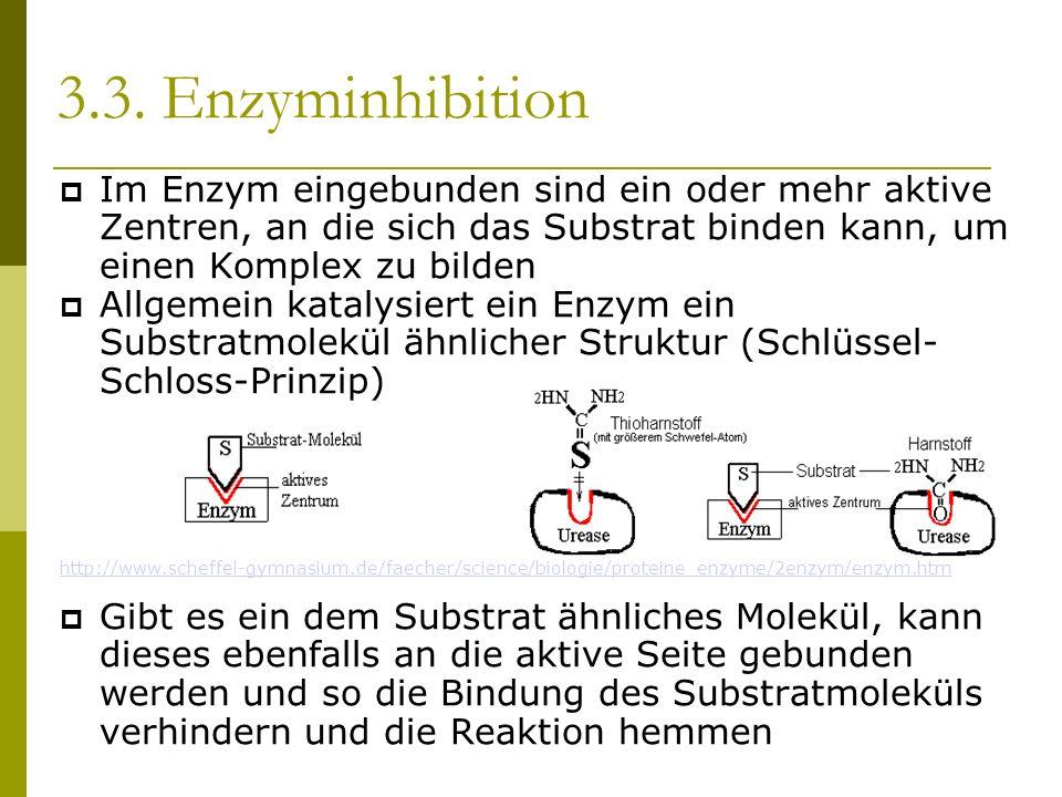 3.3. Enzyminhibition Im Enzym eingebunden sind ein oder mehr aktive Zentren, an die sich das Substrat binden kann, um einen Komplex zu bilden Allgemei
