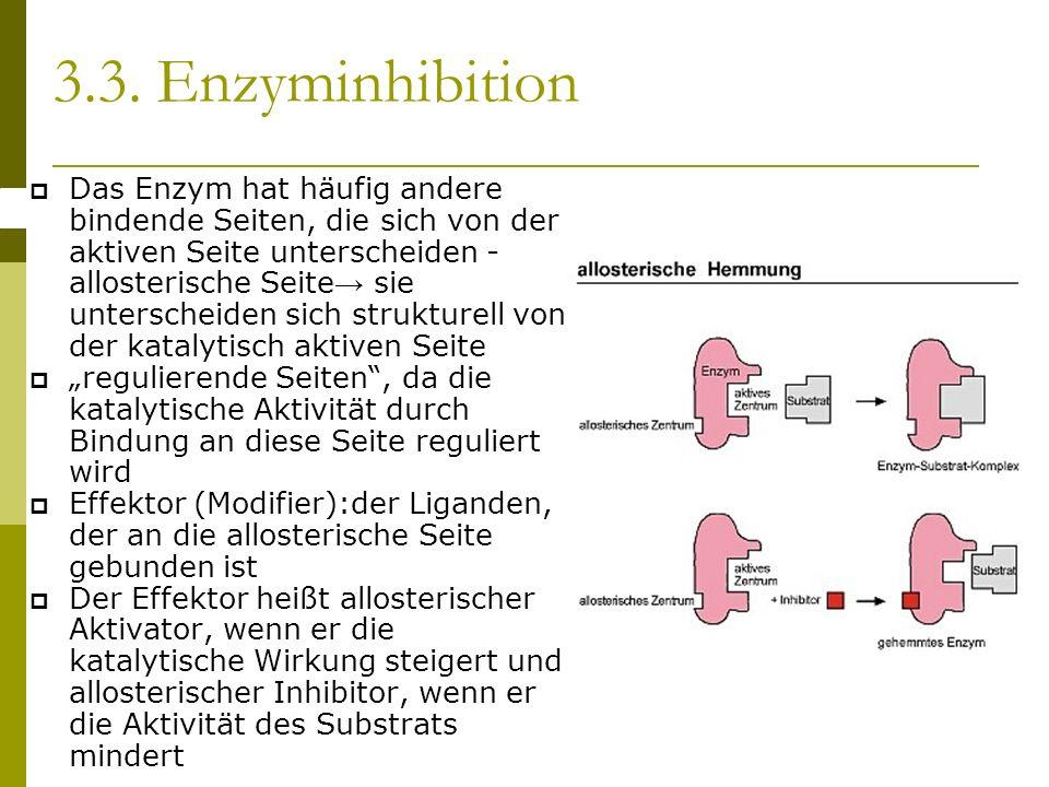 Das Enzym hat häufig andere bindende Seiten, die sich von der aktiven Seite unterscheiden - allosterische Seite sie unterscheiden sich strukturell von der katalytisch aktiven Seite regulierende Seiten, da die katalytische Aktivität durch Bindung an diese Seite reguliert wird Effektor (Modifier):der Liganden, der an die allosterische Seite gebunden ist Der Effektor heißt allosterischer Aktivator, wenn er die katalytische Wirkung steigert und allosterischer Inhibitor, wenn er die Aktivität des Substrats mindert 3.3.