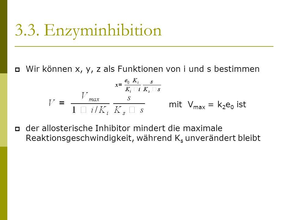 3.3. Enzyminhibition Wir können x, y, z als Funktionen von i und s bestimmen mit V max = k 2 e 0 ist der allosterische Inhibitor mindert die maximale