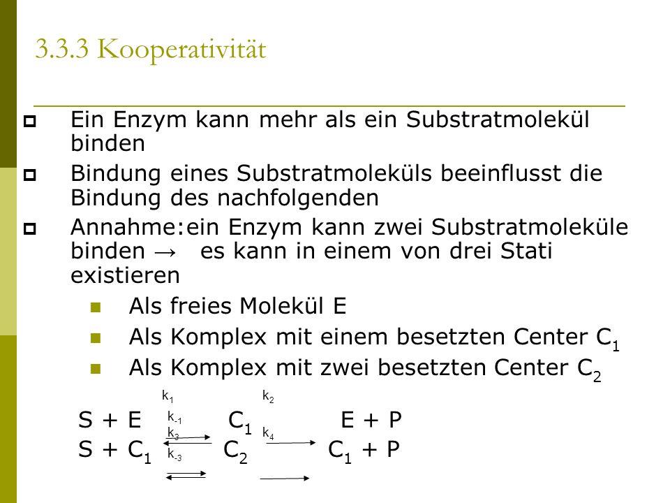 3.3.3 Kooperativität Ein Enzym kann mehr als ein Substratmolekül binden Bindung eines Substratmoleküls beeinflusst die Bindung des nachfolgenden Annahme:ein Enzym kann zwei Substratmoleküle binden es kann in einem von drei Stati existieren Als freies Molekül E Als Komplex mit einem besetzten Center C 1 Als Komplex mit zwei besetzten Center C 2 S + E C 1 E + P S + C 1 C 2 C 1 + P k1k1 k2k2 k -1 k3k3 k4k4 k -3
