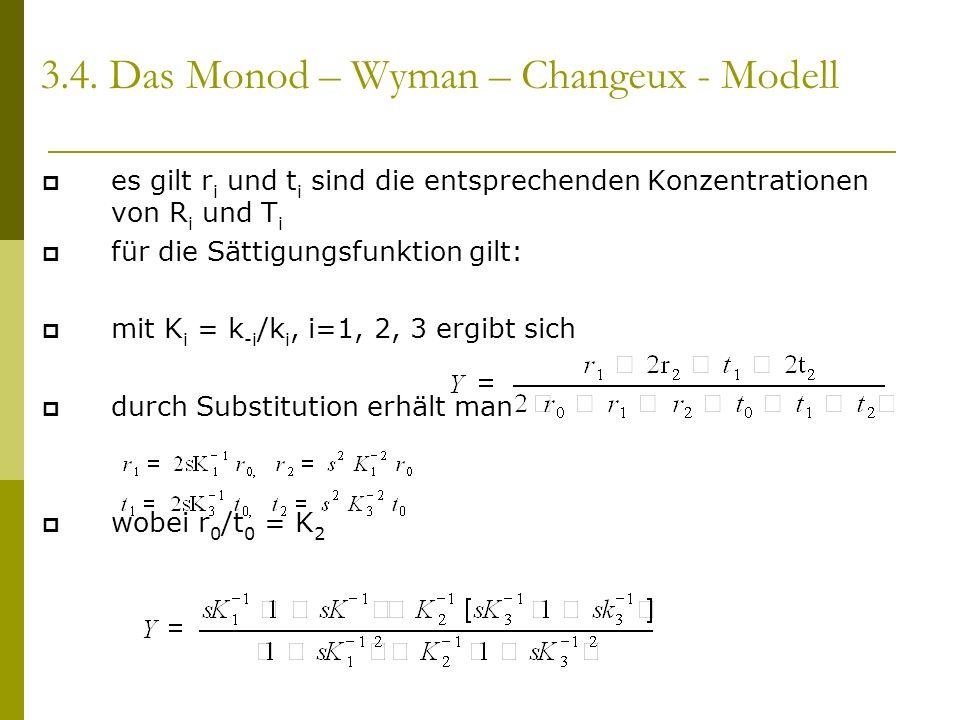es gilt r i und t i sind die entsprechenden Konzentrationen von R i und T i für die Sättigungsfunktion gilt: mit K i = k -i /k i, i=1, 2, 3 ergibt sich durch Substitution erhält man wobei r 0 /t 0 = K 2 3.4.