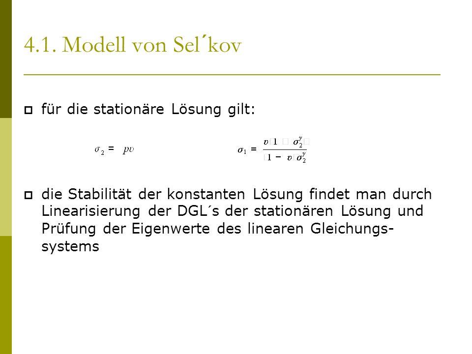 4.1. Modell von Sel´kov für die stationäre Lösung gilt: die Stabilität der konstanten Lösung findet man durch Linearisierung der DGL´s der stationären