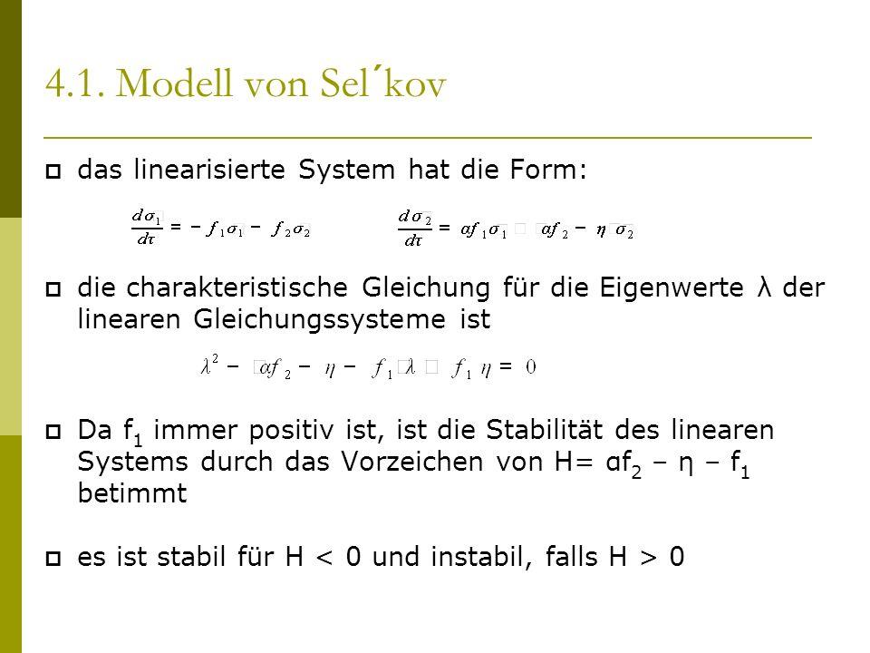 4.1. Modell von Sel´kov das linearisierte System hat die Form: die charakteristische Gleichung für die Eigenwerte λ der linearen Gleichungssysteme ist