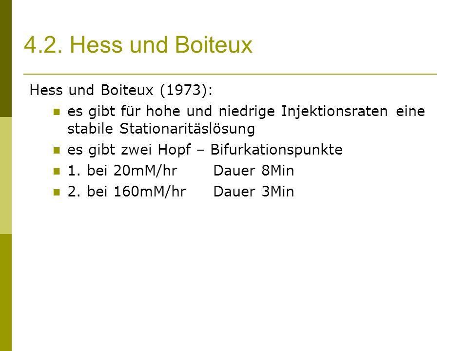4.2. Hess und Boiteux Hess und Boiteux (1973): es gibt für hohe und niedrige Injektionsraten eine stabile Stationaritäslösung es gibt zwei Hopf – Bifu