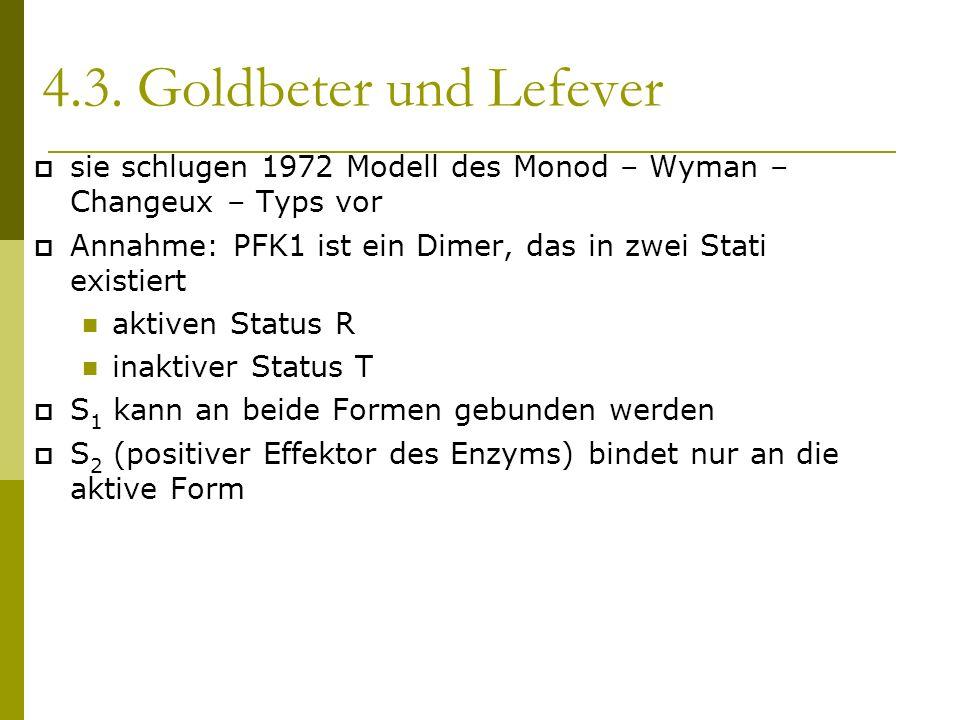 4.3. Goldbeter und Lefever sie schlugen 1972 Modell des Monod – Wyman – Changeux – Typs vor Annahme: PFK1 ist ein Dimer, das in zwei Stati existiert a