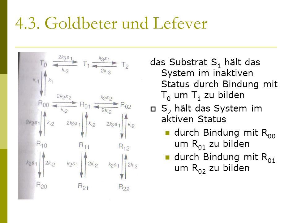 4.3. Goldbeter und Lefever das Substrat S 1 hält das System im inaktiven Status durch Bindung mit T 0 um T 1 zu bilden S 2 hält das System im aktiven