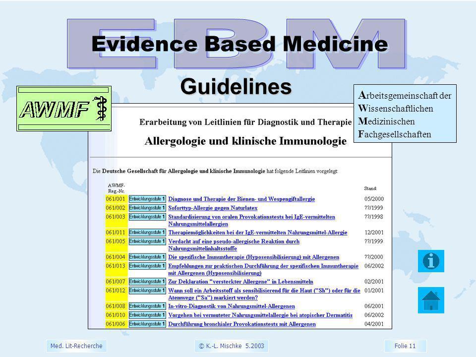© K.-L. Mischke 5.2003 Folie 11 Med. Lit-Recherche Evidence Based Medicine Guidelines A rbeitsgemeinschaft der W issenschaftlichen M edizinischen F ac