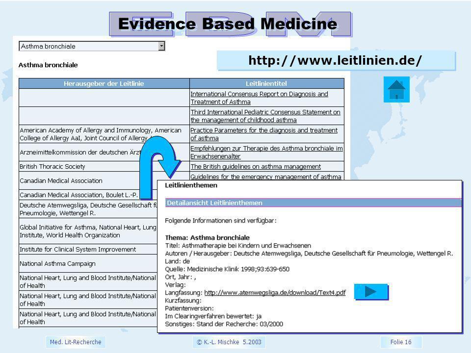 © K.-L. Mischke 5.2003 Folie 16 Med. Lit-Recherche http://www.leitlinien.de/ Evidence Based Medicine