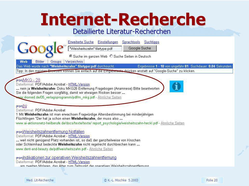 © K.-L. Mischke 5.2003 Folie 20 Med. Lit-RechercheInternet-Recherche Detailierte Literatur-Recherchen