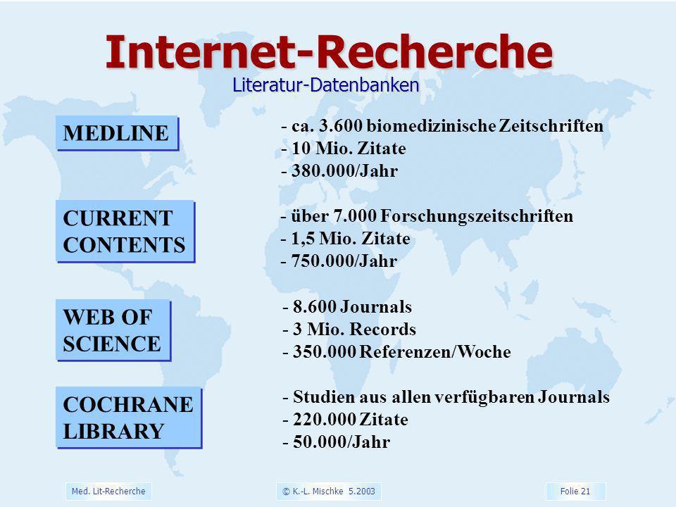 © K.-L. Mischke 5.2003 Folie 21 Med. Lit-Recherche - ca. 3.600 biomedizinische Zeitschriften - 10 Mio. Zitate - 380.000/Jahr MEDLINE Internet-Recherch