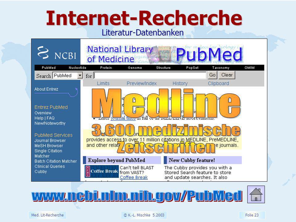 © K.-L. Mischke 5.2003 Folie 23 Med. Lit-RechercheInternet-RechercheLiteratur-Datenbanken